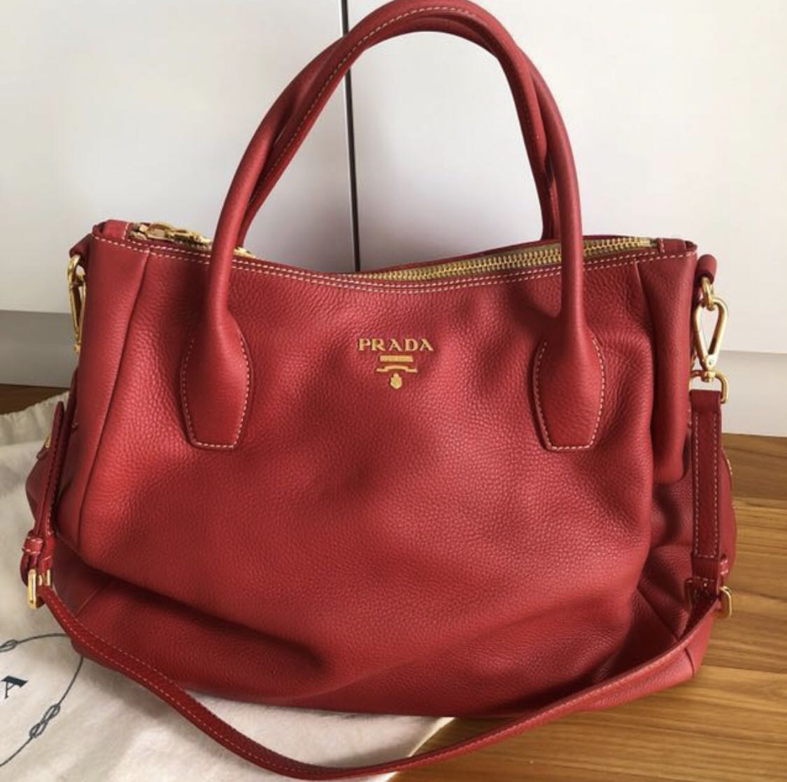 31b1f96bfc ... best authentic prada vitello daino red leather tote bag gold hardware  womens fashion bags wallets handbags