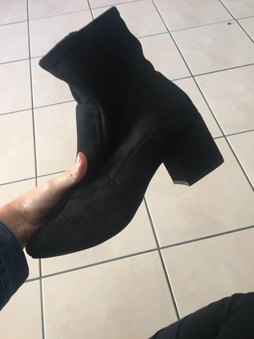 Black block heel boots