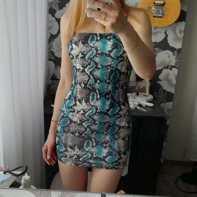 BLUE SNAKESKIN BODYCON MINI DRESS