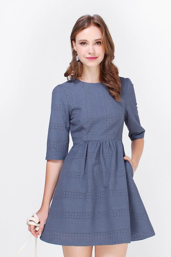 d2d0b1b6eb4 BNWT Fayth Heaji Eyelet Babydoll Dress in Ash Blue size L