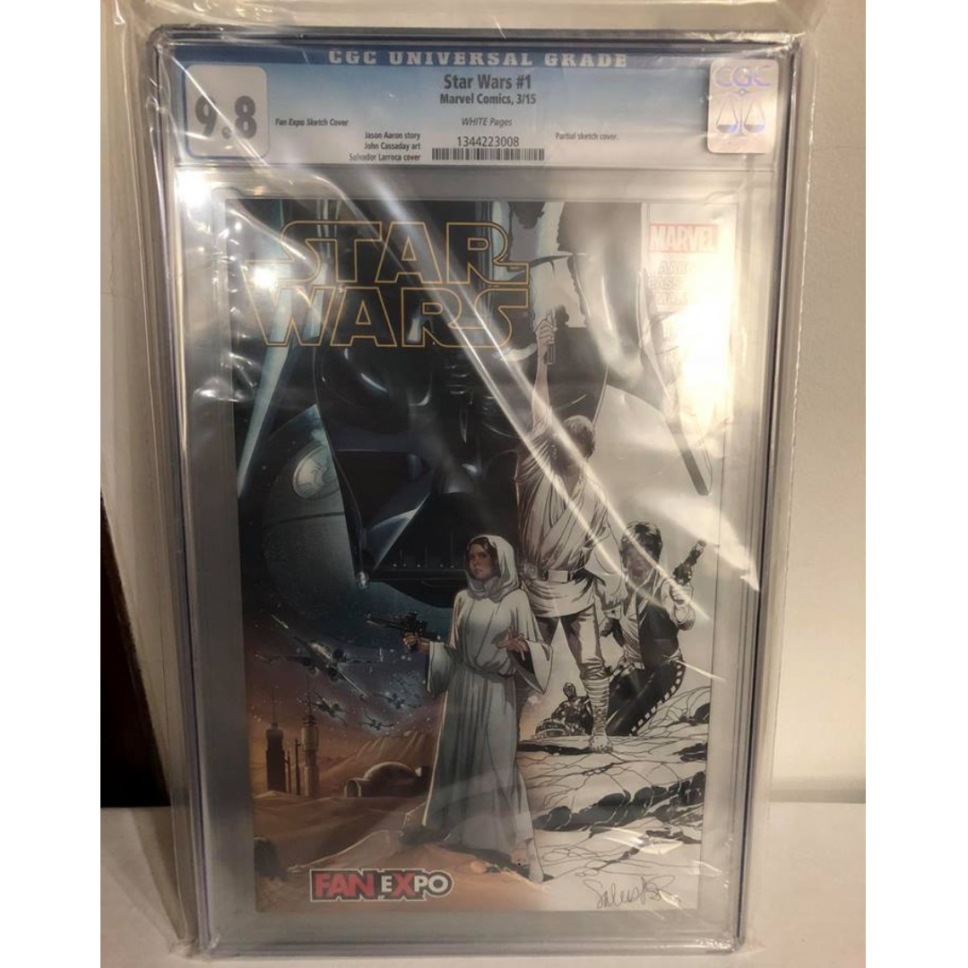 CGC 9 8 Star Wars #1 Fan Expo Sketch Variant