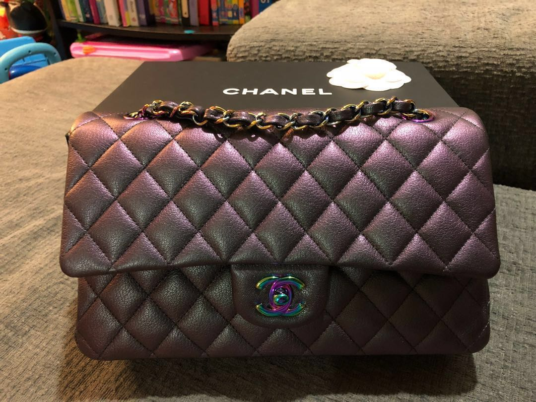 4b39af3c16690d Chanel purple iridescent mermaid medium double flap rainbow hardware ...