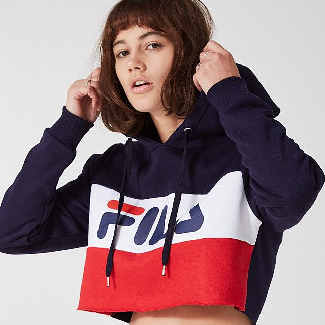 c929c363ac9e AUTHENTIC] FILA TRICOLOR RAW EDGE CROPPED HOODIE, Women's Fashion ...