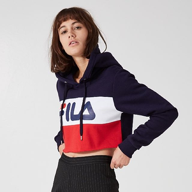 544a91f56b3f5d  AUTHENTIC  FILA TRICOLOR RAW EDGE CROPPED HOODIE