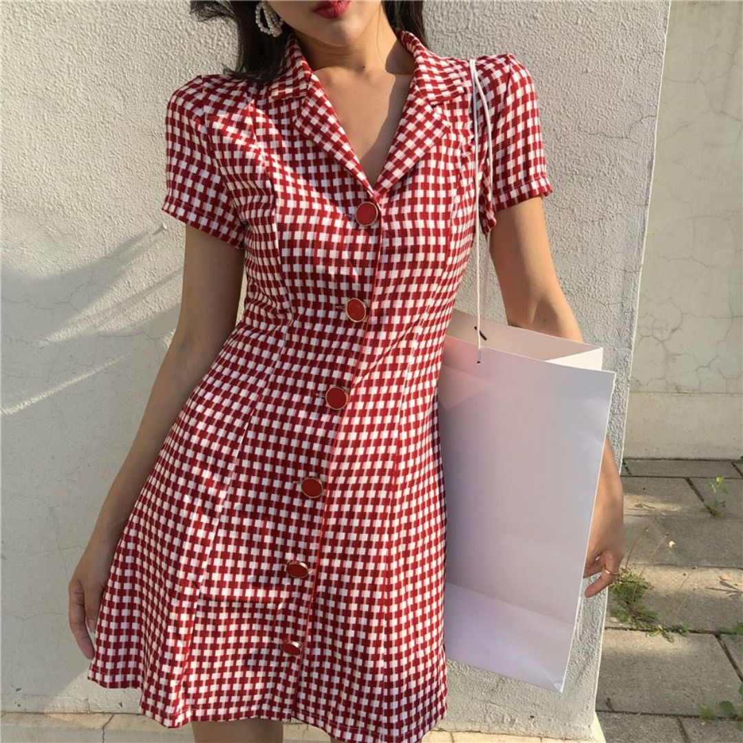 aedf8f0817 French girl retro red white plaid dress