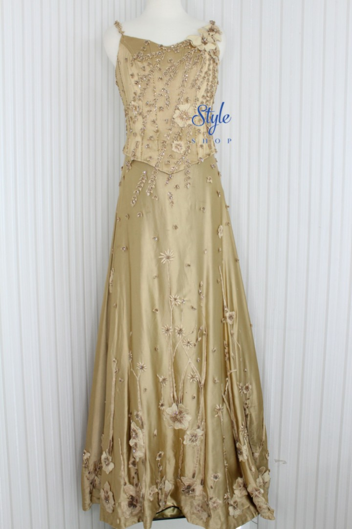 Gaun Malam Gaun Pesta Longdress Warna Gold Sutra Kode 6502 Olshop