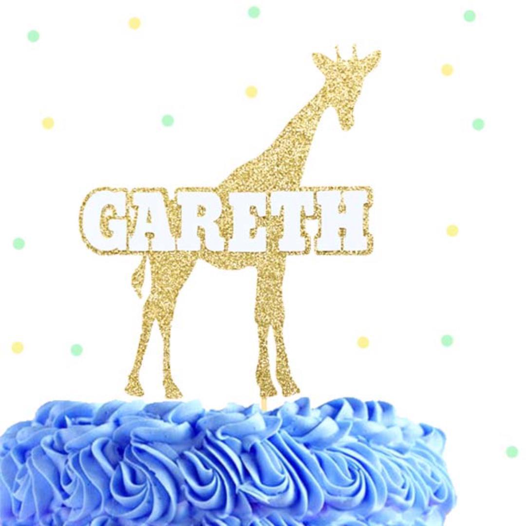 Stupendous Giraffe Cake Topper Custom Birthday Cake Topper Design Craft Personalised Birthday Cards Veneteletsinfo