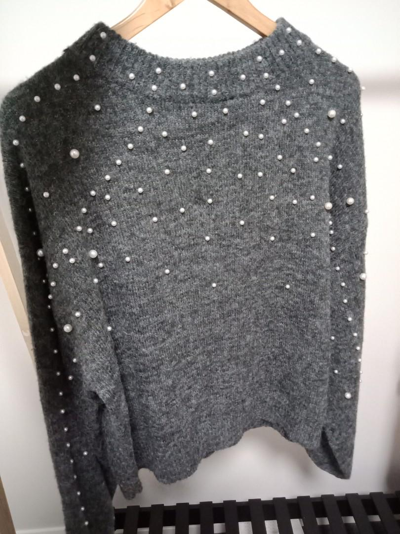 Grey Knit sweater jumper pearl sequins (M)