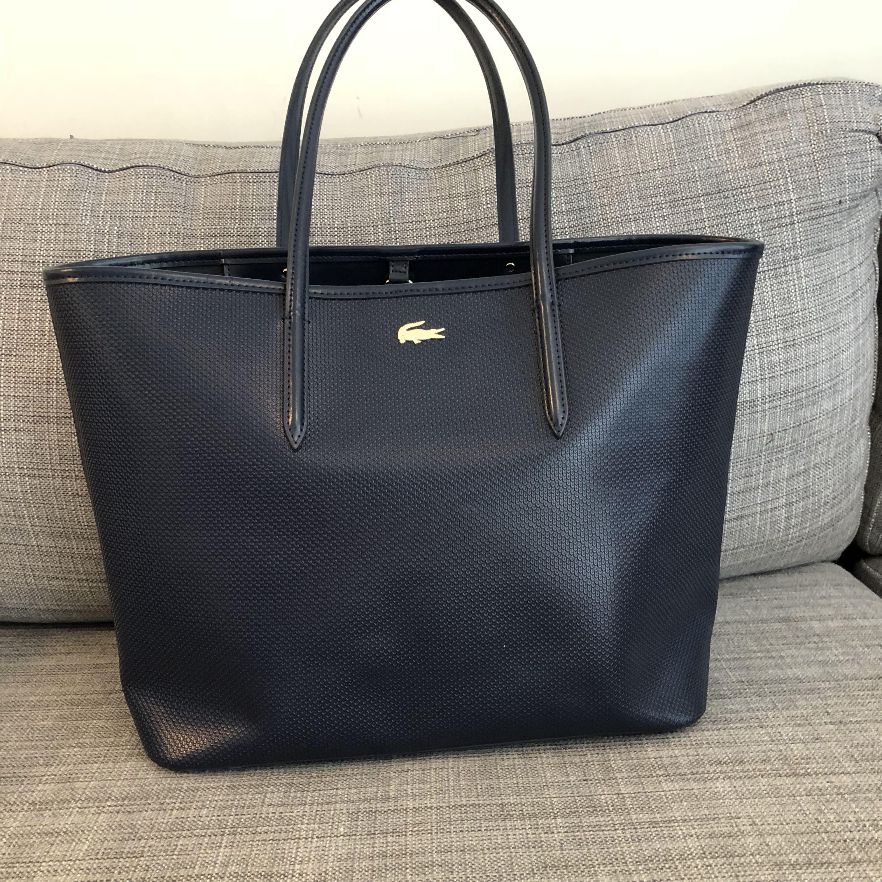 8132b61356b Lacoste Navy Chantaco Pique Leather Tote, Women's Fashion, Bags ...
