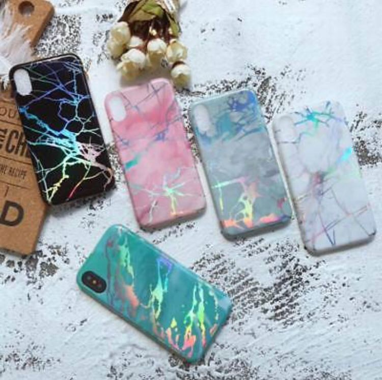 newest b8b18 10d9c Marble Holographic Phone Case