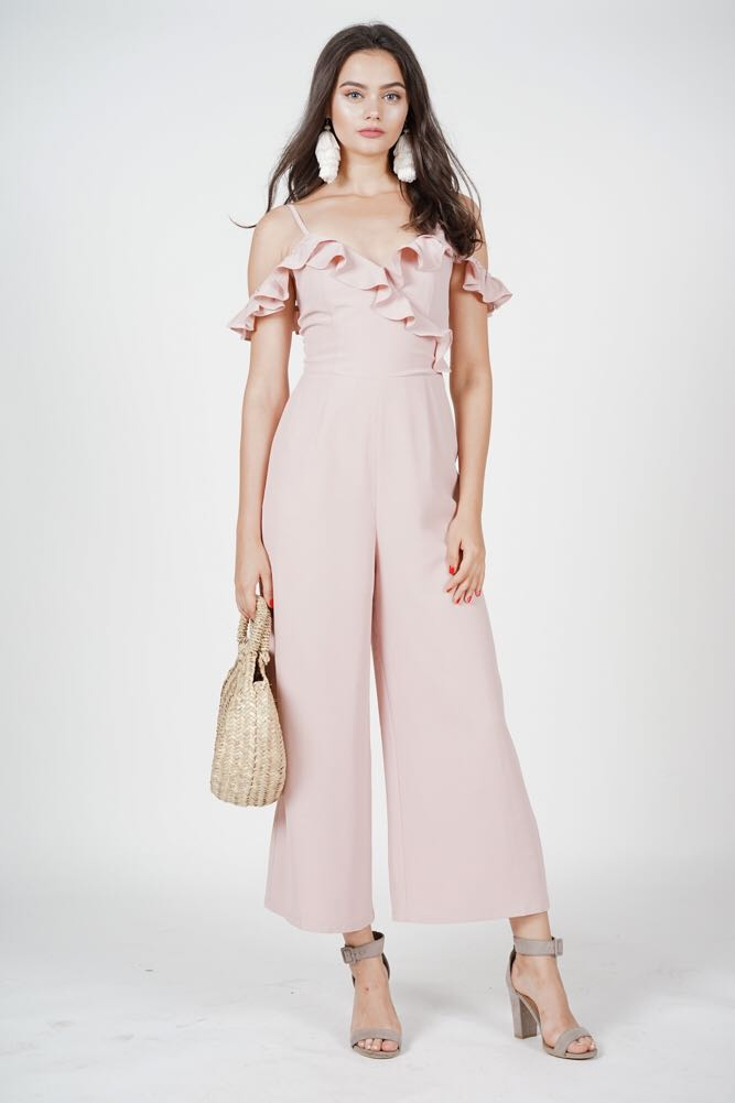 8c8c4268fc4e MDS Asymmetrical Frilly Jumpsuit in Pink