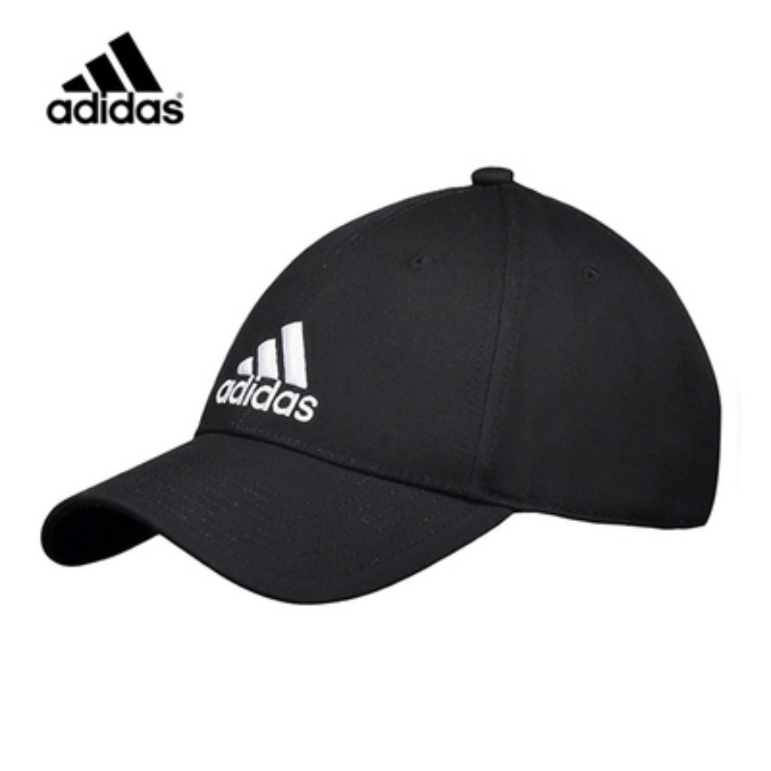 388f6ac3dfe NEW  adidas BLACK Baseball Cap Hat Cotton (w. adjustable back strap ...