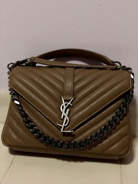 e53624dfcd61 Pre-loved YSL Saint Laurent Medium College Bag in Taupe