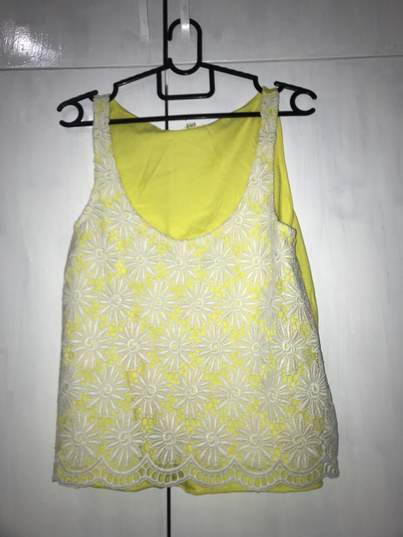 River Island Lace Yellow Top Womens Fashion Clothes Tops