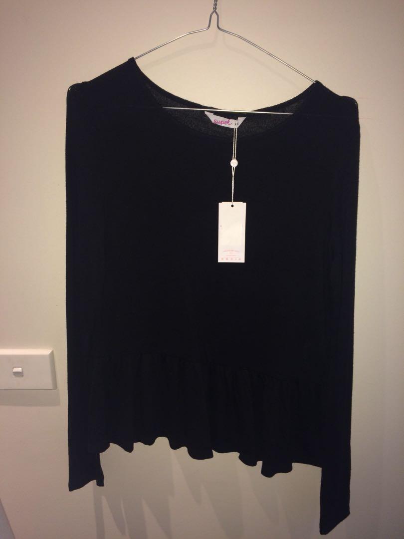 Supre Long Sleeve Peplum Shirt Top