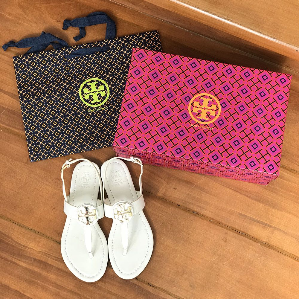 e7d16206eda TORY BURCH Bryce Thong Sandals Off White Size 5