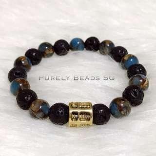 Blue Turquoise mosaic / Lava stone / Abacus bracelet(10MM)