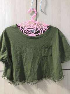ARMY GREEN CROP TOP ; $4