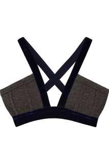 🚚 全新T Alexander Wang 外穿式內衣 深灰針織拼接深藍絲絨 xs 原價4千多 胸寬下圍平量30公分