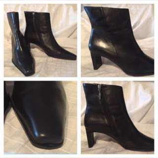 (Size 8.5) - Tommy Hilfiger Black Leather BOOTS - ((L/NEW))