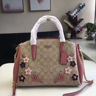 Coach sage carryall with floral applique