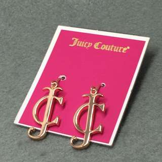 Juicy couture sample earrings rose gold 玫瑰金色字母吊墜耳環