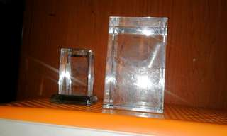 Crystalic glass cubic with inner craving decoration display