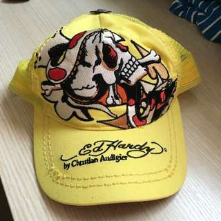 🚚 Ed Hardy經典款 黃色骷髏頭壓舌帽(含運)