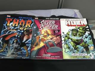 Marvel Comics Thor, silver surfer and Incredible Hulk