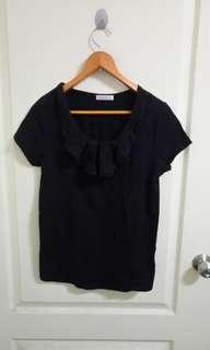 🚚 黑色造型領素色短袖上衣