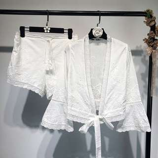 Summer Holiday lace embroidered top + high waist drawstring shorts two-piece suit