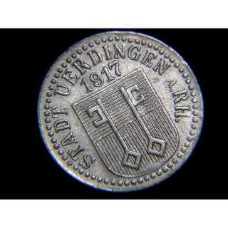 1917年德意志帝國烏丁根市(Uerdingen)市政府徽號10分寧鋅幣(德皇威廉二世時期)