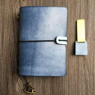 [INSTOCKS]  Real Leather⚓Navy Blue Midori Styled Traveler's Notebook, Planner, Journal [Economic Version]