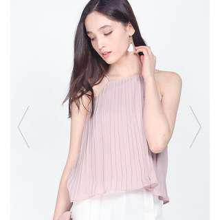 Fayth Fields Pleated Halter Mauve Pink Top