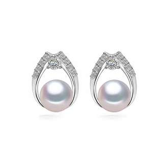 Rhodium plated Cultured Pearls on 925 silver