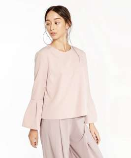 Soft Pink Bell Sleeve Blouse