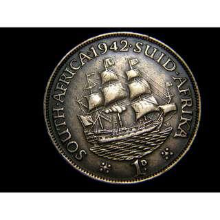 1942年英屬南非(British South Africa))荷屬東印度大商船1便士銅幣(英皇佐治六世像)