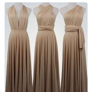 Infinity long dress nude