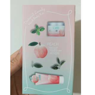 BNIB WELCOS Around me Natural Lovely Peach Body Kit (Body Wash / Cream)