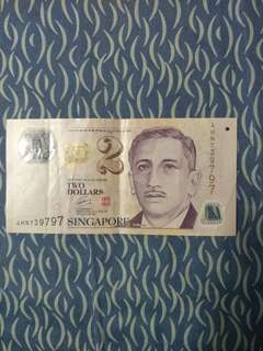 📢REPEATED END NUMBERS📢 Singapore $2 Note