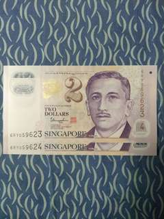 UNC Singapore $2 Note
