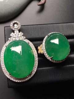 GZ-36批發價️: ¥119990 一套 陽綠蛋面套裝,尺寸大,完美 裸石: 23.2-18.6-8, 17.3-15.6-8