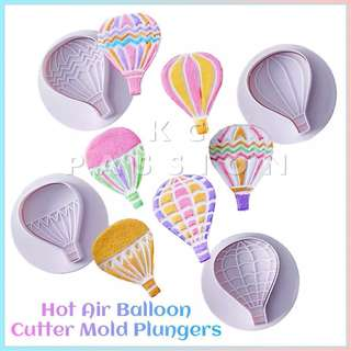 🎂 HOT AIR BALLOON CUTTER PLUNGER MOLD SET TOOL Cake Decorating Tool for Cookies • Fondant Cake & Cupcake • Bread Dough • Pastry • Sugar Craft • Jelly • Gum Paste • Polymer Clay Art Craft •