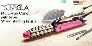 TSUYAGLA!! Multi Hair Curler with FREE Straightening Brush!