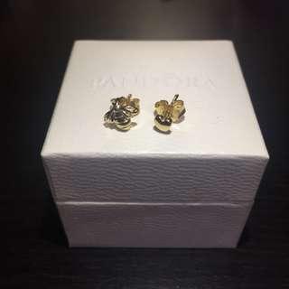 全新 Pandora Shine 18K 鍍金 心形 蜜蜂 耳環