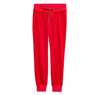 H&M LOGG VELOUR JOGGER RED