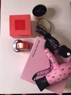 Bulgari perfume, Links necklace, Amika hair dryer set