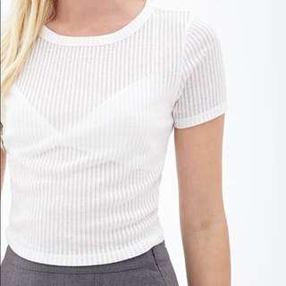 Forever21 White Ribbed Crop Top