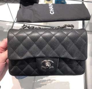 Chanel mini Cf 20cm A69900 黑色牛皮銀鍊