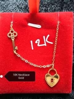 Gold 18K lock and key